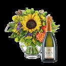 """Blumenstrauß """"Geburtstagskind"""" mit Sekt VAUX Cuvée Brut"""