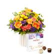 Blumenstrauß  Happy Birthday M mit Hachez Zum Geburtstag