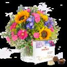 """Blumenstrauß """"Große Freude"""" mit Hachez Pralinen """"zum Geburtstag"""