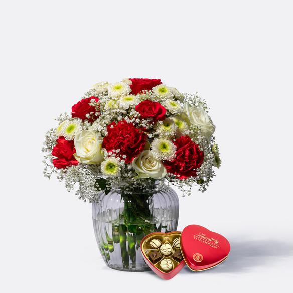 Blumenstrauß Only for You mit Lindt Herz in Weiss und Rot