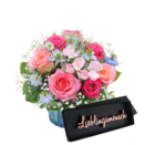 """Blumenstrauß """"Herzensfreude"""" mit Schriftzug """"Lieblingsmensch"""""""