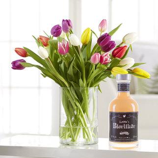 20 Stiele Bunte Tulpen mit Lotta`s Eierlikör, 200 ml