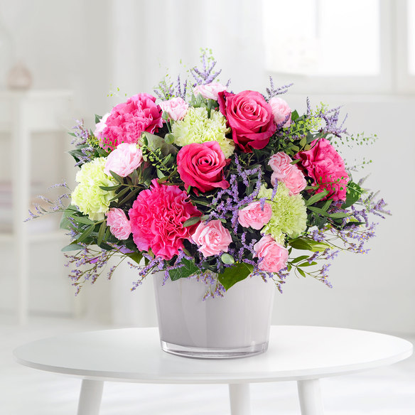 Blumenstrauß Schön, dass es Dich gibt in Weiss, Rosa, Pink und Creme
