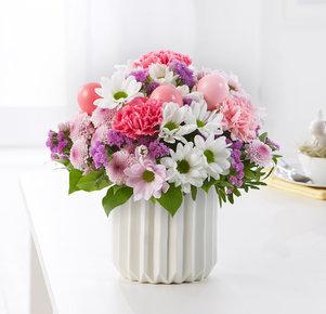 Blumenstrauß Osterbote in Weiss, Rosa und Pink
