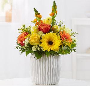 Blumenstrauß Osterküken in Gelb und Orange